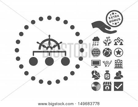 Rule icon with bonus symbols. Vector illustration style is flat iconic symbols gray color white background.