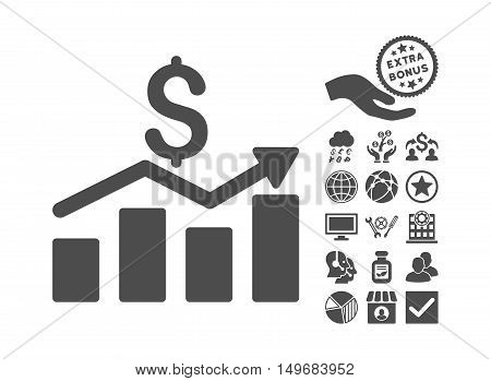 Sales Chart icon with bonus design elements. Vector illustration style is flat iconic symbols, gray color, white background.