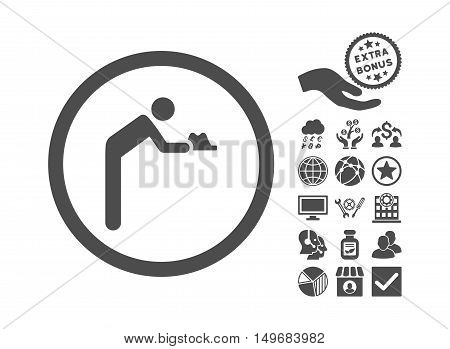 Servant icon with bonus pictograph collection. Vector illustration style is flat iconic symbols, gray color, white background.