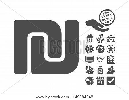 Shekel icon with bonus pictograph collection. Vector illustration style is flat iconic symbols, gray color, white background.
