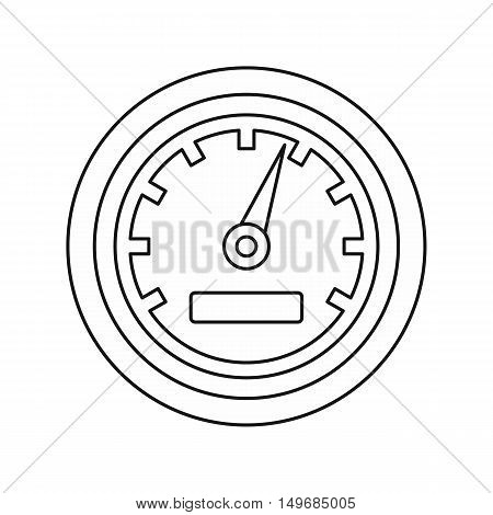 Car speedometer icon in outline style isolated on white background vector illustration