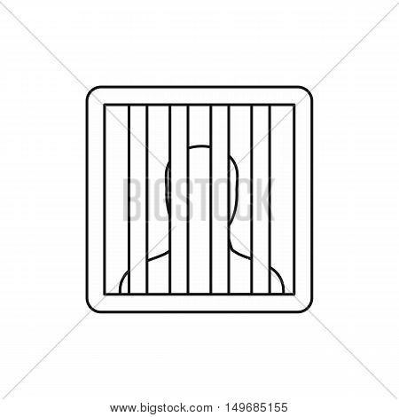 Prisoner behind bars icon in outline style isolated on white background vector illustration