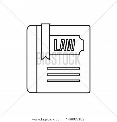 Law and justice book icon in outline style isolated on white background vector illustration