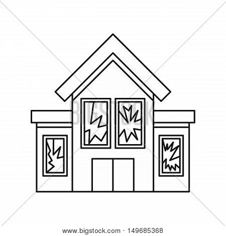 House with broken windows icon in outline style isolated on white background vector illustration