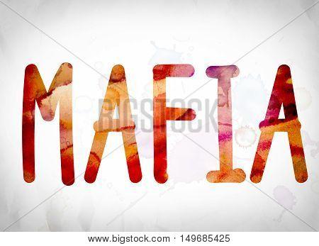Mafia Concept Watercolor Word Art