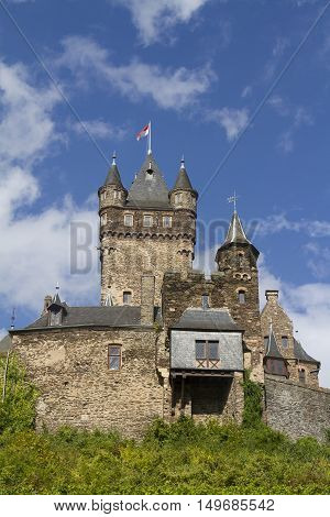 View Of The Castle Of Cochem, Germany. It Is The Largest Hill-castle On The Mosel River.