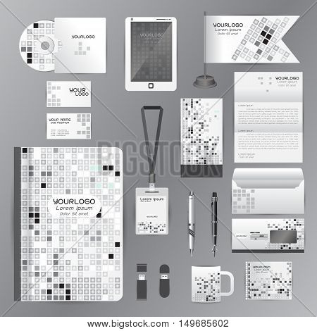 White identity template with gray origami elements. Vector company style for brandbook guideline and Pens mugs CDs books business cards letterhead flag Card Portfolio employees Tablet