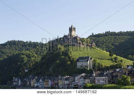 Cochem, Germany - Aug 20, 2016: View Of The Castle Of Cochem, Germany. It Is The Largest Hill-castle