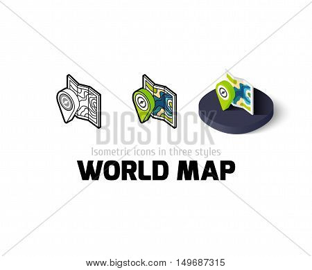 World map icon, vector symbol in flat, outline and isometric style