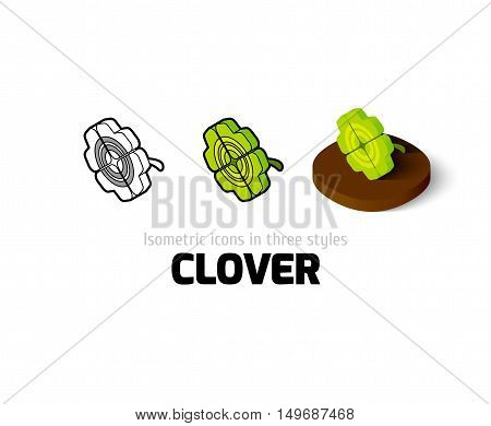 Clover icon, vector symbol in flat, outline and isometric style