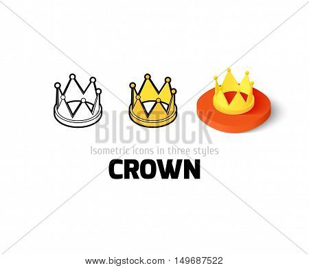 Crown icon, vector symbol in flat, outline and isometric style
