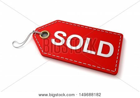 sold shopping tag concept 3d illustration isolated on white background