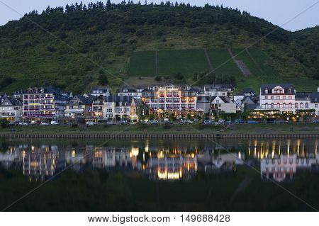 Cochem Germany - Aug 20 2016: Cityscape of Cochem from the Mosel river during sunset