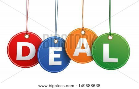 deal shopping tag concept 3d illustration isolated on white background