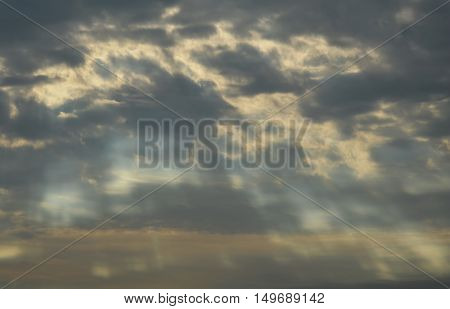 sunlight through from cloudy on the morning