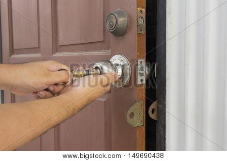 locksmith use the cylider tool for open the door