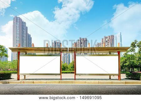Blank publicity billboards for city bus stations