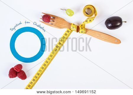 Symbol Of World Diabetes Day And Fresh Fruits With Centimeter, Copy Space For Text