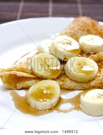 Delicious Pancakes With Banana Slices