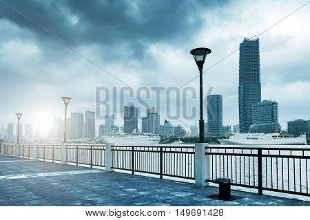 Tempest in Shanghai Bund Huangpu River landscape.