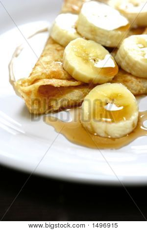 Warm Pancakes With Banana Slices