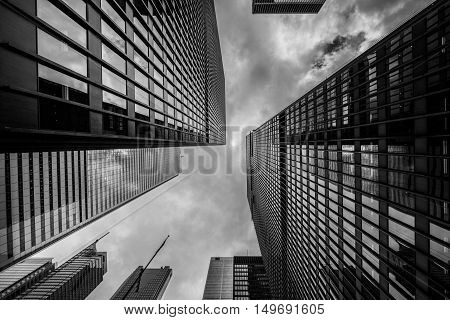Windowed City Skyscraper Architecture Beneath Cloudscape in Black and White