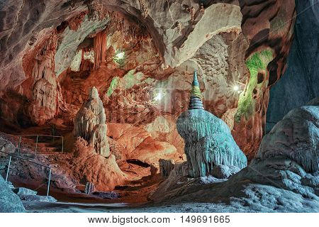 beautiful cave with stalactites and stalagmites, thailand