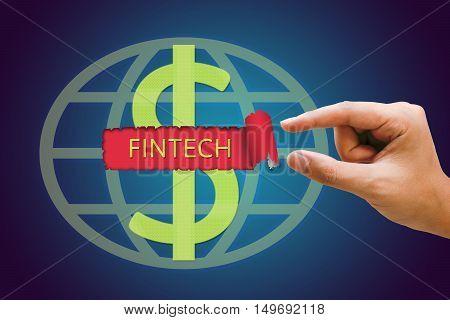 Fintech Investment Financial Internet Technology Concept Businesswomen hand pulling paper revealing fintech text dollar sign with background.