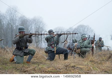 GATCHINA, RUSSIA - NOVEMBER 07, 2015: German infantry during the First World War in battle. International military-historical festival