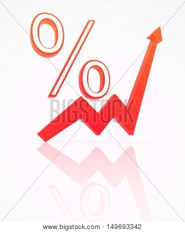 Percent from index, isolated image. 3d illustration.