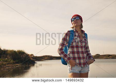 A Portrait Of A Pretty Woman In  Sun Glass Front  Lake