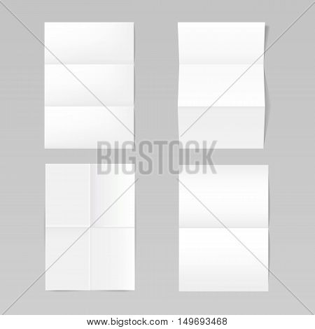 Set of folded realistic blank sheets of paper mockup