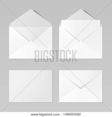 Set of blank realistic envelopes mockup, vector illustration