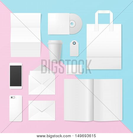 Set of corporate identity and branding template. Business stationery mockup on the color background