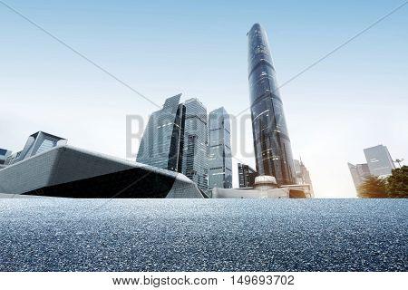 China Guangzhou Pearl River next to skyscrapers Guangzhou landmarks.
