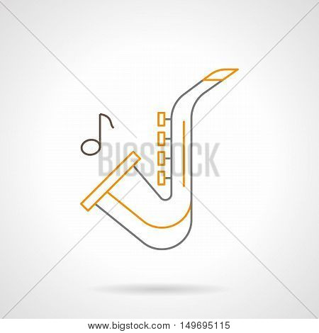 Saxophone with one note. Sax melody symbol. Musical instrument for band, orchestra, jazz festival, music shop. Black and yellow flat line vector icon.