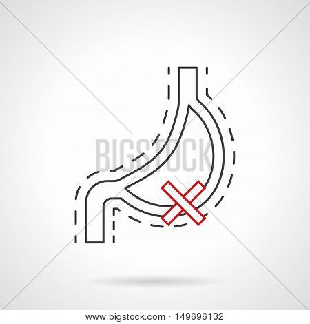 Damaged organs from bad habits. Stomach of smoker. Harm of nicotine for organism. Smoking consequences symbol. Black and red flat line vector icon.