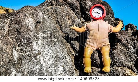 Vinatage Ancient Doll With Clock Face