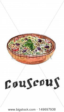 Arabic traditional cuisine - Couscous with tomato green onion raisins and parsley hand drawn - watercolor Illustration