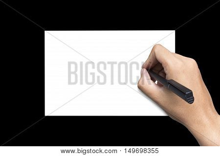 background, black, hand, paper, pen, right hand, white