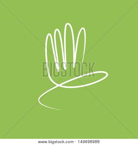 Vector sign abstract hand, friendly environment concept