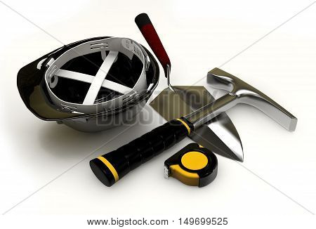 Illustration Of Isolated Bricklayers Tools On White Background