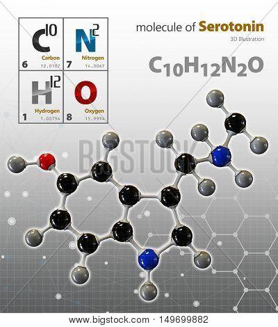 Illustration Of Serotonin Molecule Isolated Grey Background