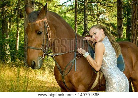 Girl In A Beautiful Dress Is A Horse