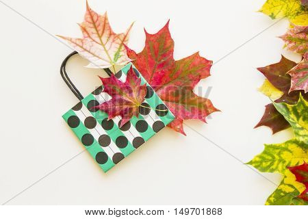 Colourful autumn leaves and polka dot paper bag on white background. Copy space. Flat lay. Top view