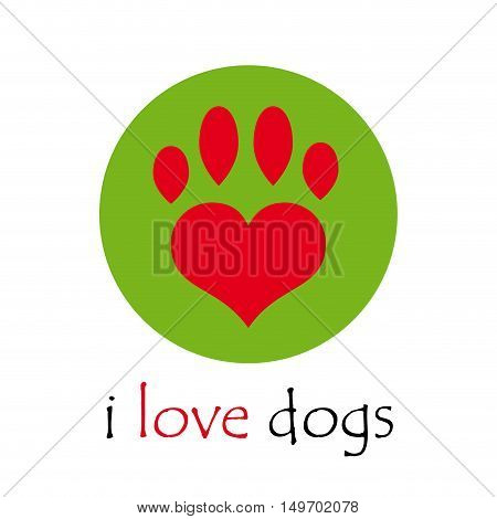 Vector sign i love dogs, isolated on white