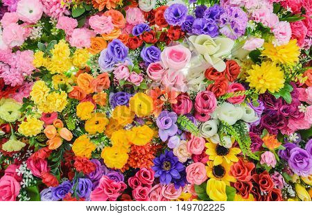 bueatiful Bunch of flowers Colorful mixed bouquet with various spring flowers