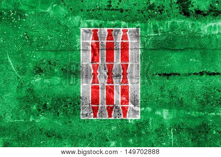 Flag Of Umbria Region, Italy, Painted On Dirty Wall