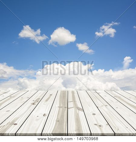 Abstract Background. Wood Table Top On Blue Sky