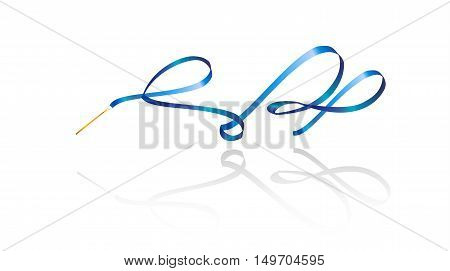 Ribbon gymnastics background, ribbon gymnastics isolated on white background. Ribbon dance. Gym ribbon. Vector illustration.